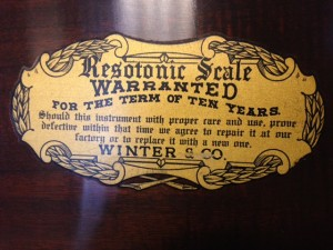 """old, cheap Winter spinet piano with that """"Resotonic Scale"""""""